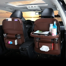 Pu Leather Pad Bag Car Seat Back Organizer Foldable Table Tray Travel Storage Dining