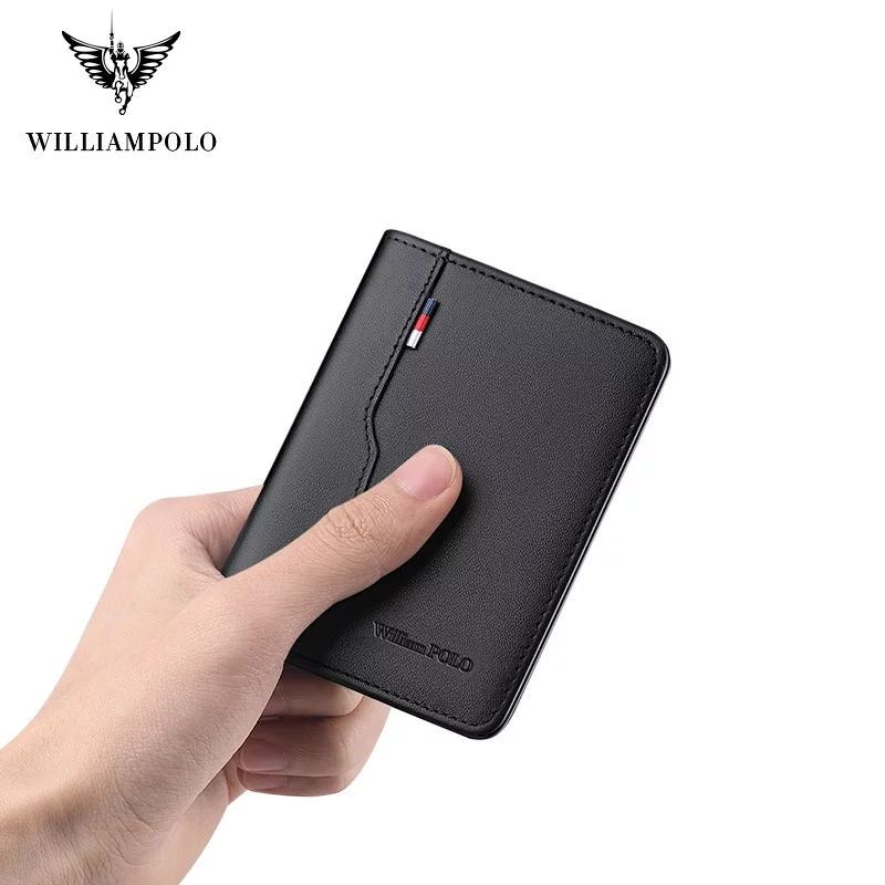 Williampolo Men Thin Genuine Leather Wallet Casual Casual Handbag Design Two-fold Wallet Brand Slim Full Grain Leather Wallet