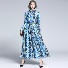 2019 Spring Summer Fall Runway Vintage Floral Print Collar Long Sleeve Empire Waist Women Lady Party Casual A-Line Maxi Dress