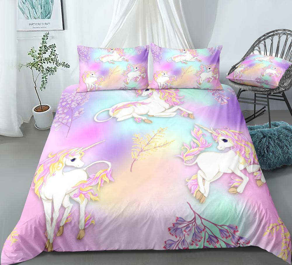 Unicorns Duvet Cover Set White Unicorn Bedding Kids Girls Colorful Flowers Quilt Cover Queen Home Textiles Rainbow Dropship