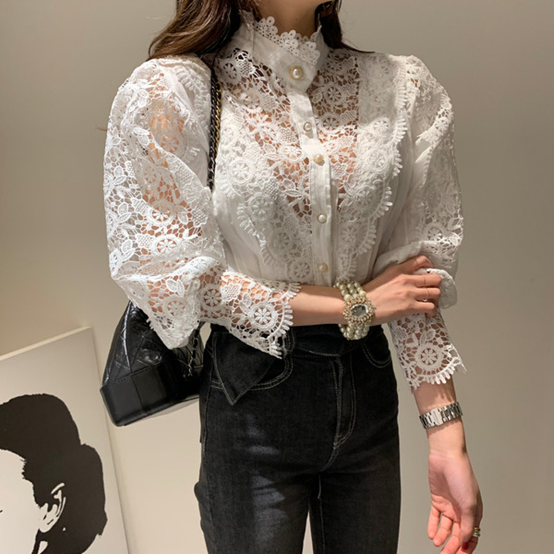 Chic Women Lace Sheer Blouse Office Lady Long Sleeve Top Shirt Blouse Fashion  White Shirt Female Blouse