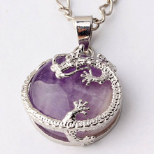 FYJS Unique Jewelry Silver Plated Vintage Chinese Dragon Wrap Half Ball Natural Amethysts Stone Pendant Necklace