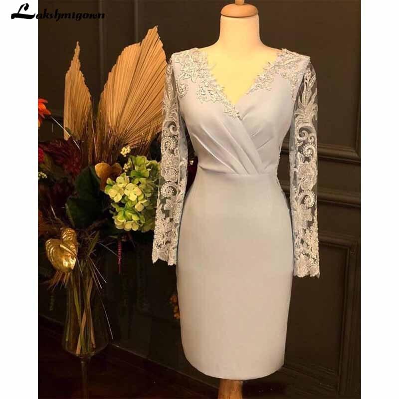 Elegant Mermaid Mother Of The Bride Dresses V Neck Long Sleeve Vintage Appliques Women Wedding Guest Gown Short Mother Dress