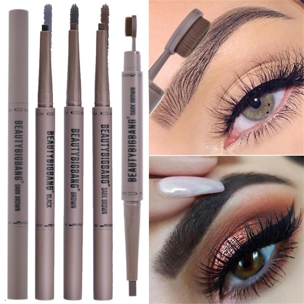 Black/Gray/Brown Double Eyebrow Pen with Brush Toothbrush Head Eyebrow Pencil Multifunctional Waterproof Long Lasting Makeup image