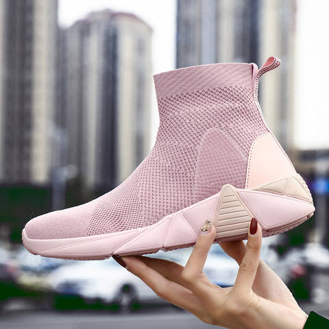 Socks shoes high waist couple high-top shoes white breathable men and women sports shoes tide shoes  casual shoes Lahore