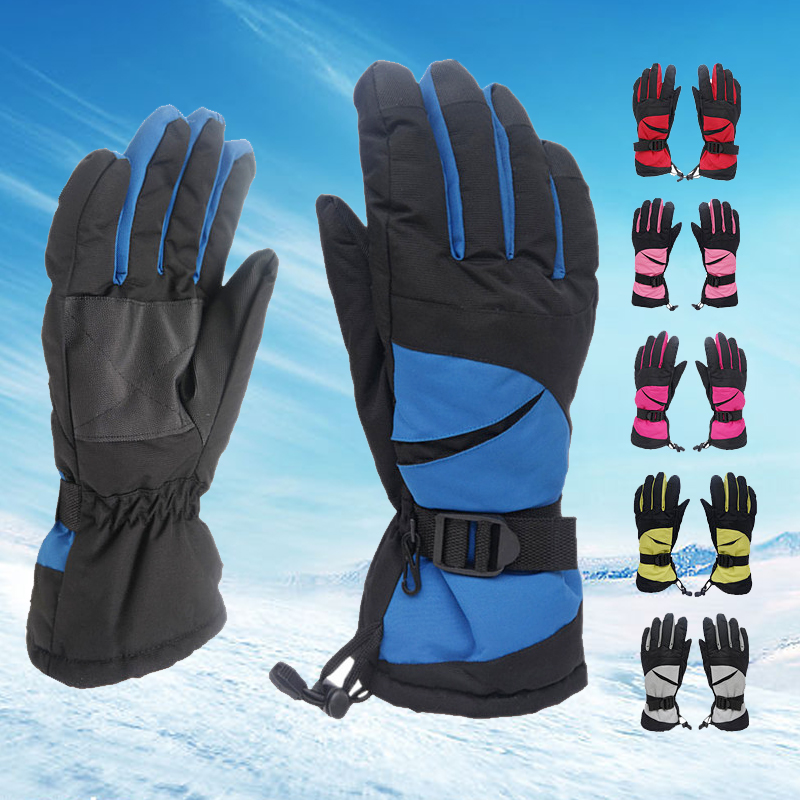 Waterproof Winter Warm Gloves Professional Ski Gloves Girls Boys Adult Snow Gloves Windproof Skiing Snowboard Gloves Guanti Moto