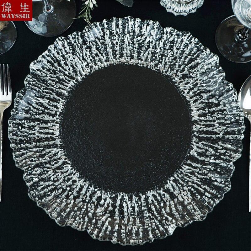 Купить dia34 см в форме цветка серебряное золото обода прозрачное стекло