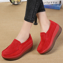 Women Flats Platform Loafers Ladies Elegant Genuine Leather