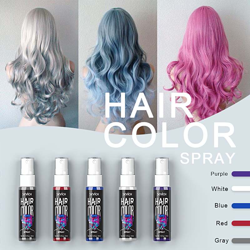 Sevich 30ml Temporary Hair Dye Spray DIY Hair Color Liquid Washable 5 Colors One Time Hair Color Spray Instant Color