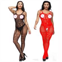 Black Women Sexy Pantyhose Open Crotch Nylon Stockings Crotchless Fishnet Sheer Body Dress Lingerie Bodystocking U