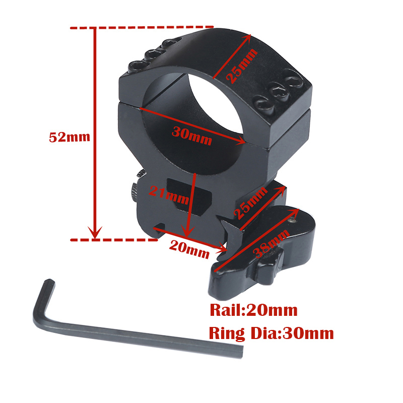 1Pair 2 Pcs 30 Mm High Scope Ring 20mm Weaver Picatinny Rail Upgrade QD Quick Release Scope Mount Hunting Caza