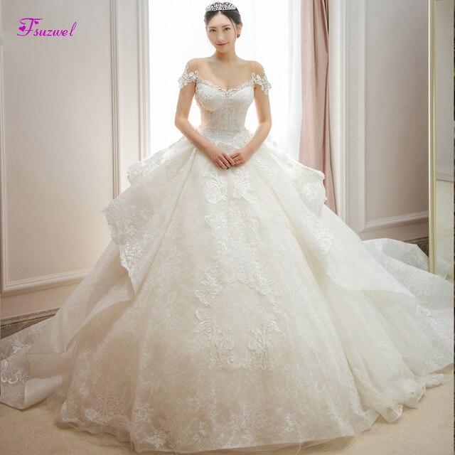 Fsuzwel великолепные свадебные платья трапециевидной формы с кружевной аппликацией и длинным шлейфом 2020 роскошное свадебное платье с бисером и глубоким вырезом Vestido de Noiva