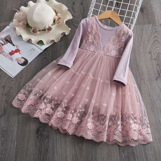 Flower Lace Embroidery Dress For Girls Princess Autumn Winter Party Ball Gown