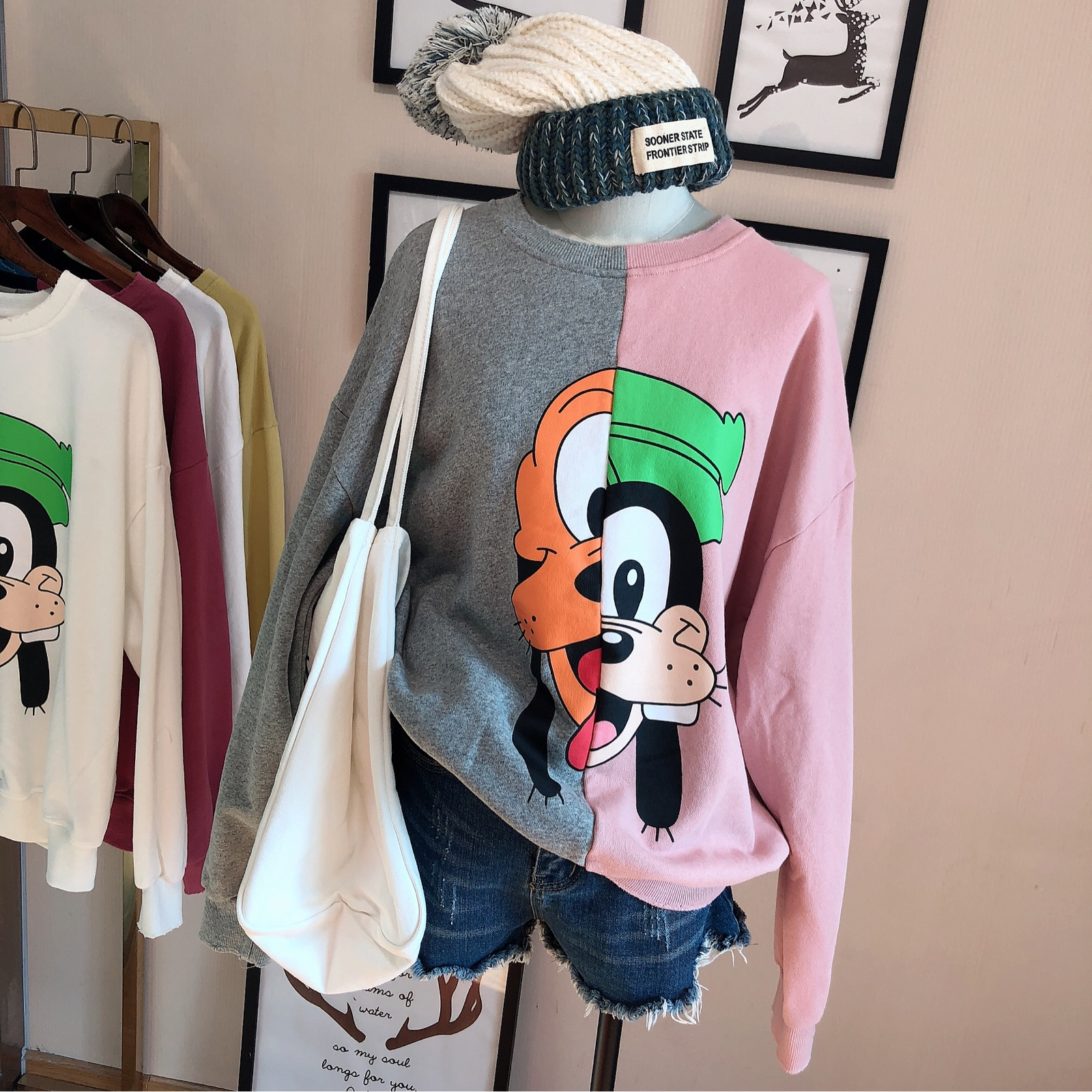 2020 Sweatshirt Women's Spring Autumn Thin New Korean  Fashion Lazy Style Cartoon Women Hoodies Tops