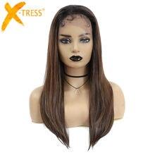 Длинные мягкие прямые синтетические кружевные передние парики для черных женщин, высокая температура, волоконные волосы, Омбре, коричневый...