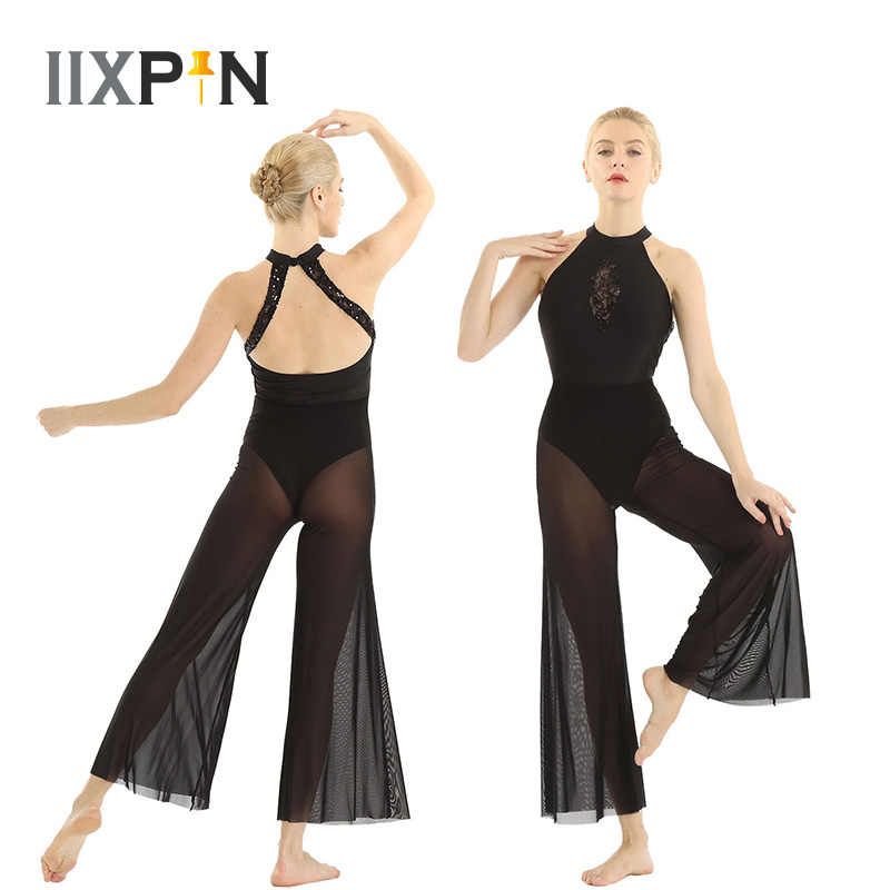 Ballet Women Lyrical Dance Costumes Halter Neck Sleeveless Open Back Sequin Lace Insert Bodice Flare Culottes Ballet Leotards