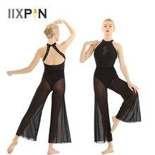 Fantasia lyrical de dança, balé feminino sem mangas abertas, com lantejoulas, renda, gola, leotards