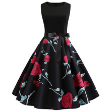 2019 Retro Printing Sexy Halter Party Dress Hepburn Vintage 50s 60s Pin Up Rockabilly Dresses Robe Plus Size Elegant Midi Dress sexy halter party dress 2019 retro polka dot hepburn vintage 50s 60s pin up rockabilly dresses robe plus size elegant midi dress