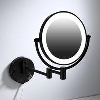 Makeup Mirrors Black Painting LED Wall Mount Extending Folding Double Side LED Light Mirror 3 x 5x 10x Magnification Bath Mirror