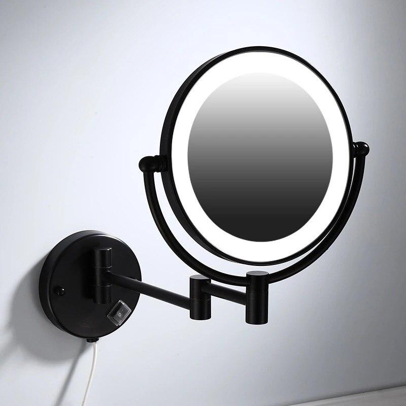 Miroirs de maquillage noir peinture mur LED montage extension pliant Double face lumière LED miroir 3 x 5x 10x grossissement miroir de bain