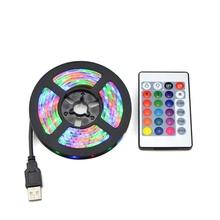 Światła LED RGB 2835 SMD 60 led m szafka kuchenna taśma LED 1-5 M taśma wodoodporna szafa TV lampa dekoracyjna 5V kabel USB ładowanie tanie tanio AIMENGTE 50000hours RGB USB LED Strip light Zawsze na CR2025 Battery NOT Include
