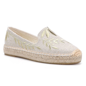 Image 2 - 2020 Hot Sale Real Flat Platform Hemp Rubber Slip on Casual Floral Zapatillas Mujer Sapatos Womens Espadrilles Flat Shoes