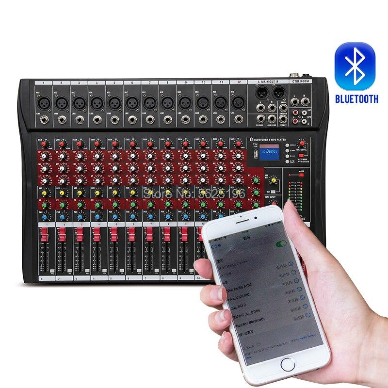 Wysokiej jakości CT120S 12 kanałowy profesjonalny dźwięk cyfrowy mikser z mikser Phantom + 48V Bluetooth USB funkcja
