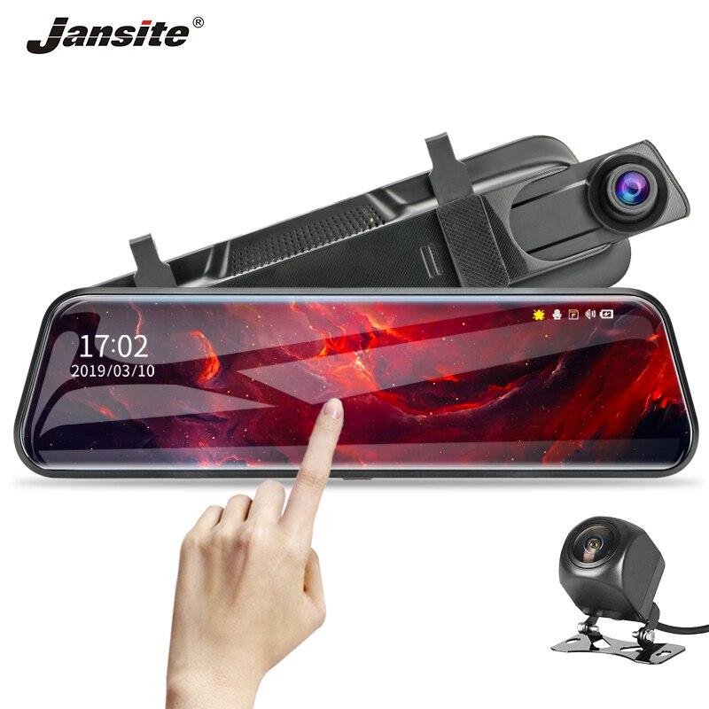 Jansite 10 сенсорный экран 1080P Автомобильный видеорегистратор Камера с двойным объективом авто камера видео рекордер зеркало заднего вида с 1080p резервная камера