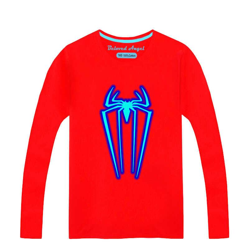 אביב סתיו מצחיק ילדים זוהר חולצת טי ילד ילדה חג המולד ארוך שרוול זוהר בחושך פעוט חולצה Noctilucent טי פאנק רוק