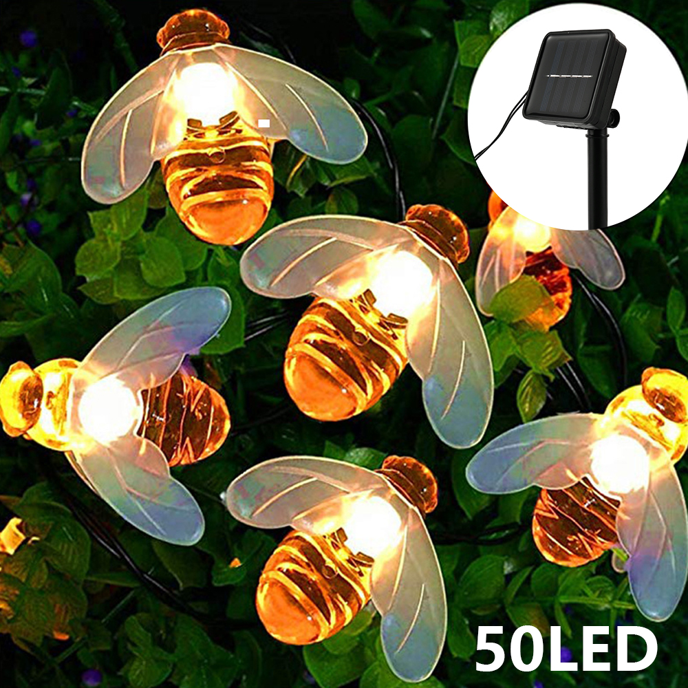 5m 7m  Solar Powered Lights Honey Bee Led String Lamp Light Outdoor Garden Fence Christmas Garland Lights Decorations