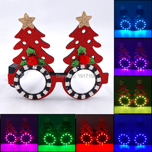 New Fashion Christmas Glasses Flashing LED Glasses for Christmas Glow Party Christmas Cute Cartoon Glasses for Kids Adults