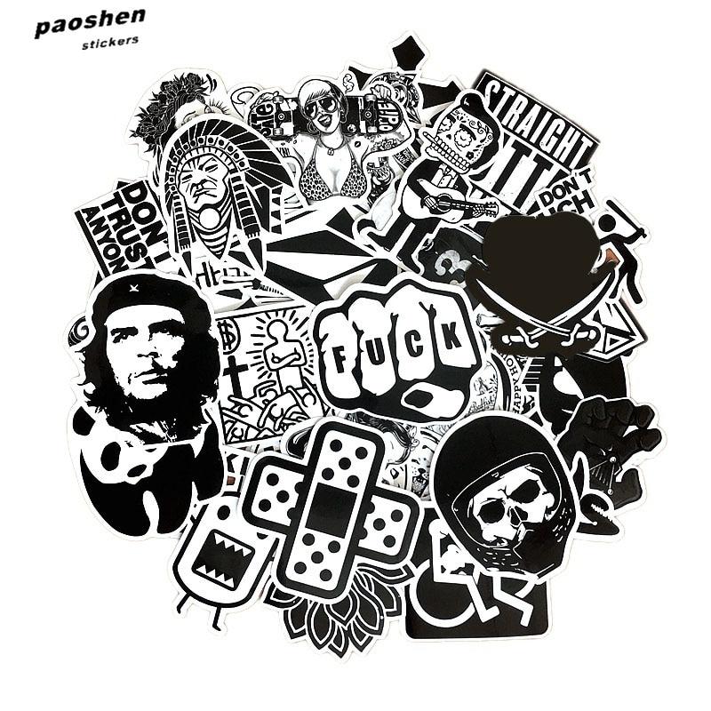 60 PCS Black and White Cool DIY Stickers For Skateboard Laptop Luggage Snowboard Fridge font b