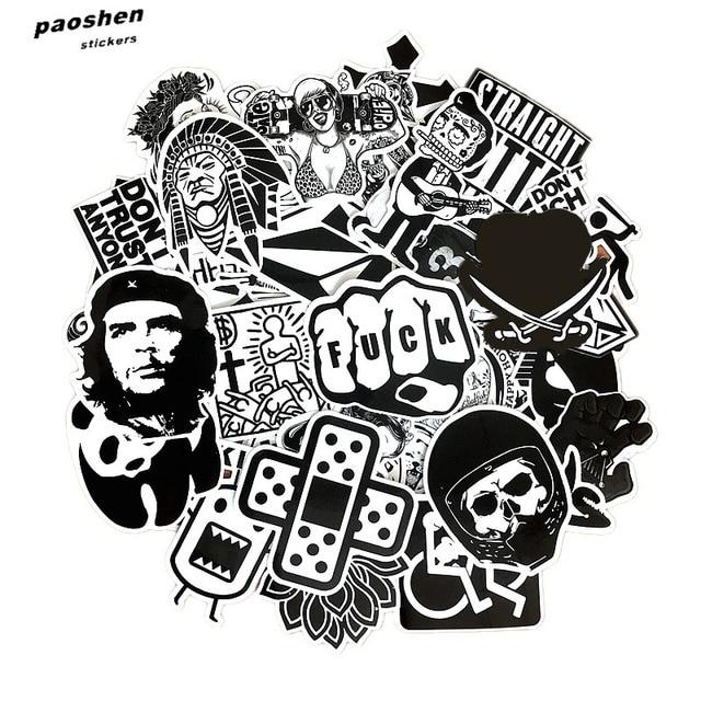 60 قطعة الأسود والأبيض بارد ملصقات ذاتية الصنع ل سكيت الأمتعة المحمول على الجليد الثلاجة الهاتف لعبة ملصقات ديكور المنزل