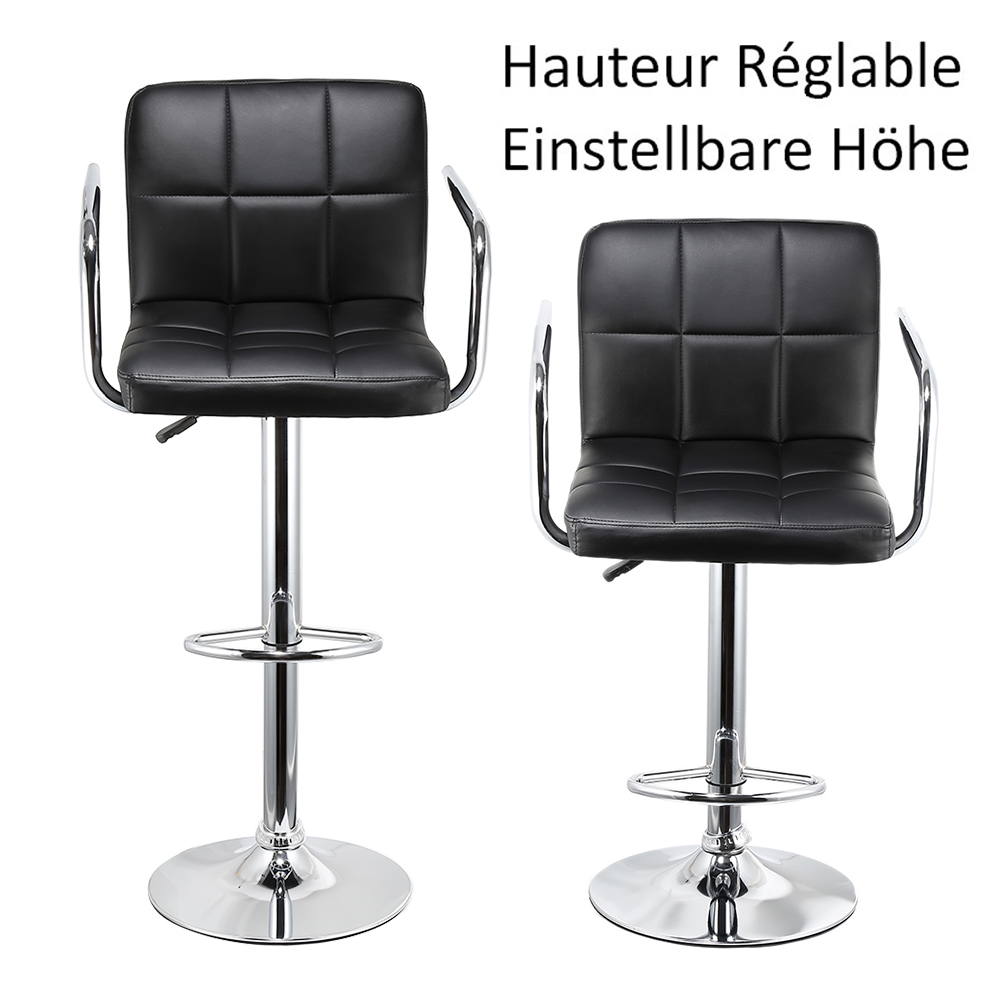 2pcs Leisure Synthetic Leather Bar Stools Swivel Bar Chairs Height Adjustable Pneumatic Pub Chair HWC