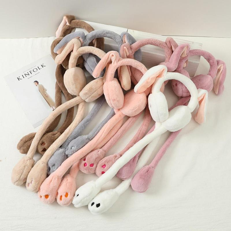 1 Pcs New Fashion Winter Earmuffs Cute Ear Ears With Moving Rabbit Windproof Warm Earmuffs