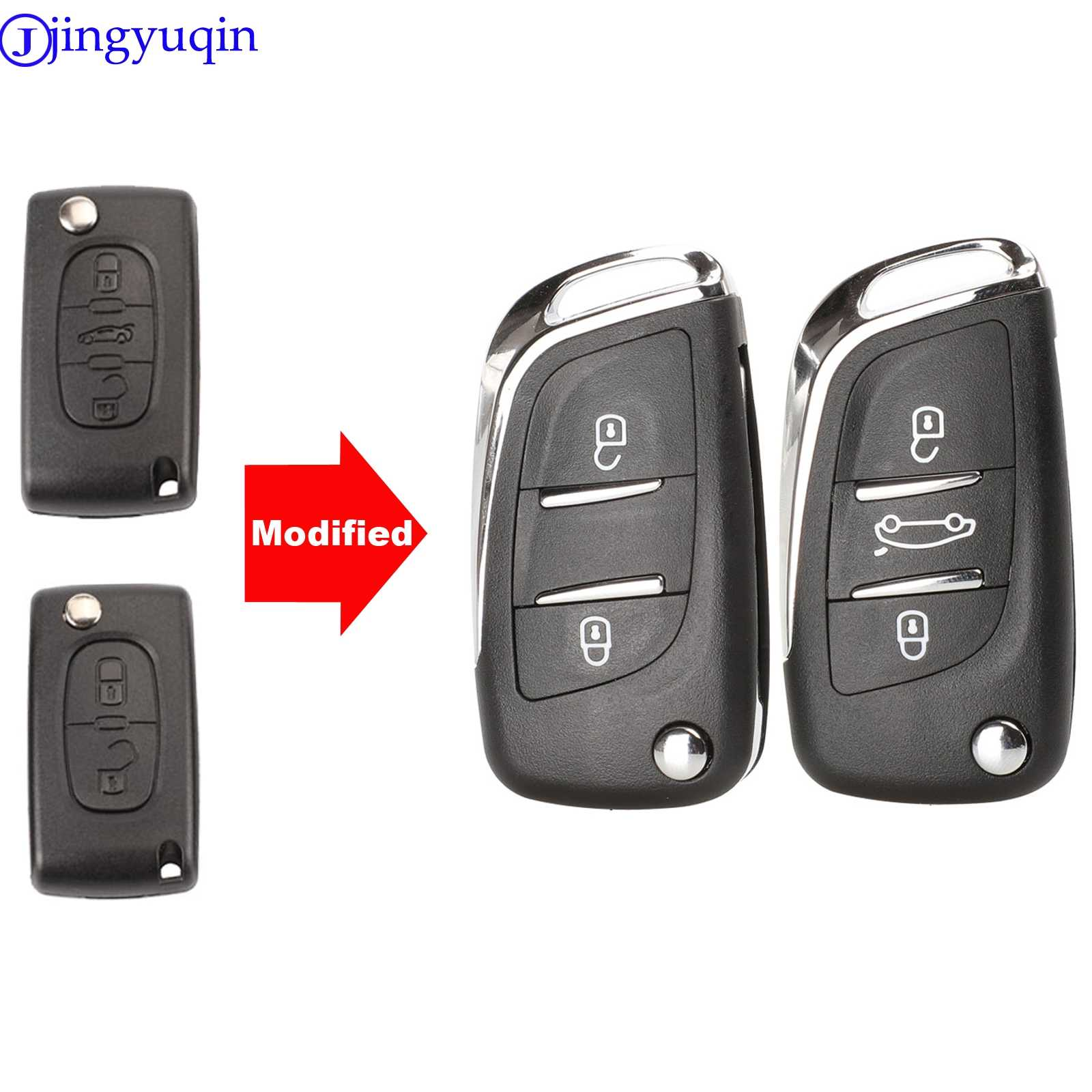 2 botones plegable cubierta clave HU83 para Peugeot 207 307 308 807 5008