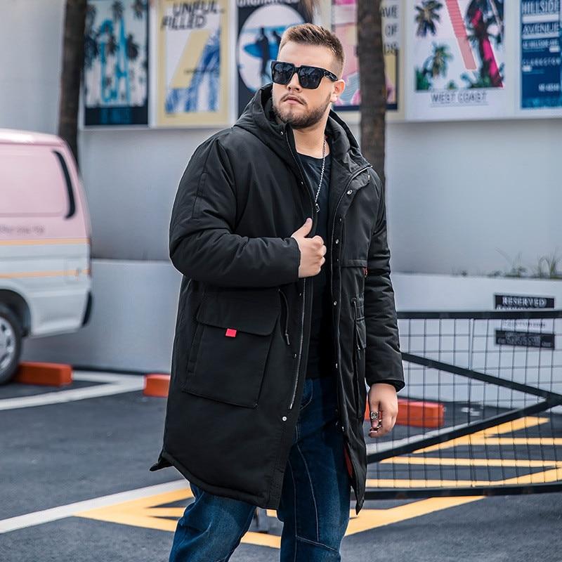 2019 Winter New Men's Plus Size Long Cotton Coat Fashion Generous Waist Drawstring Loose Black Cotton Suit More Size M-6XL