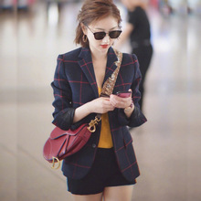 Star Same-style Check Small Suit Women Autumn 2019 New One-to-one Casual Plaid Jackets and Coats Clothes