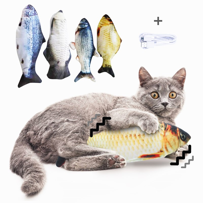 2021 New 30CM Cat Wagging Catnip Toy Dancing Moving Floppy Fish Cats Toy USB Charging Simulation Cat Toy Electronic Pet Cat Toy