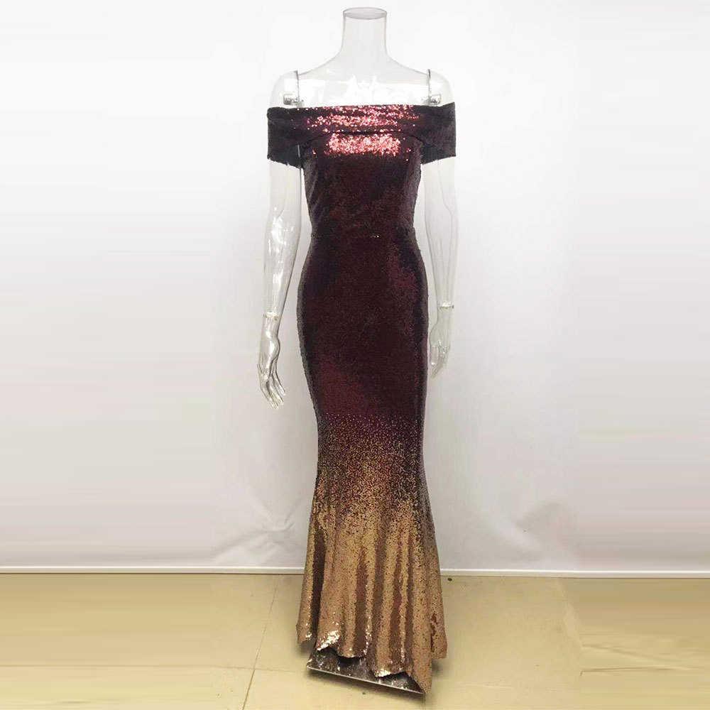 Новые женские вечерние платья цвета красного вина с золотым градиентом, Роскошные платья с блестками, элегантные платья макси с открытой спиной и блестками