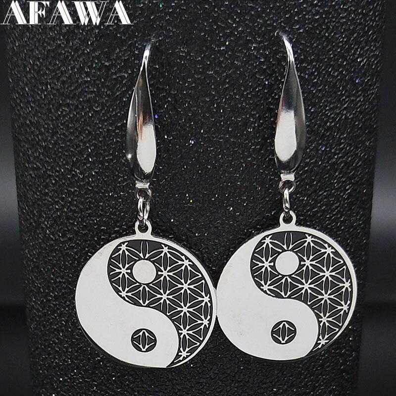 2020 Gossip Flower Of Life Stainless Steel Dangle Earrings Women Black Enamel Drop Earrings Jewelry Pendientes Mujer E612988