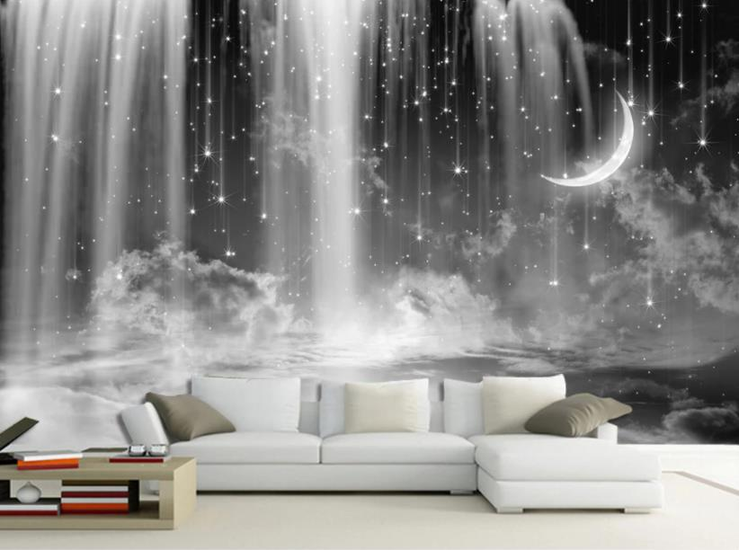 Home Improvement Wallpaper For Walls 3 D Black And White Waterfall Starry Sky Wallpaper Living Room 3D Background Wall Wallpaper