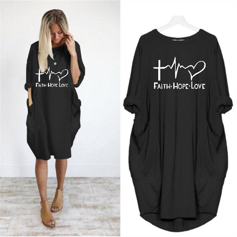Повседневные свободные платья для женщин с длинным рукавом, осенне весеннее Свободное платье для женщин размера плюс с карманами, вечерние платья с принтом Vestidos De Fiesta|Платья|   | АлиЭкспресс