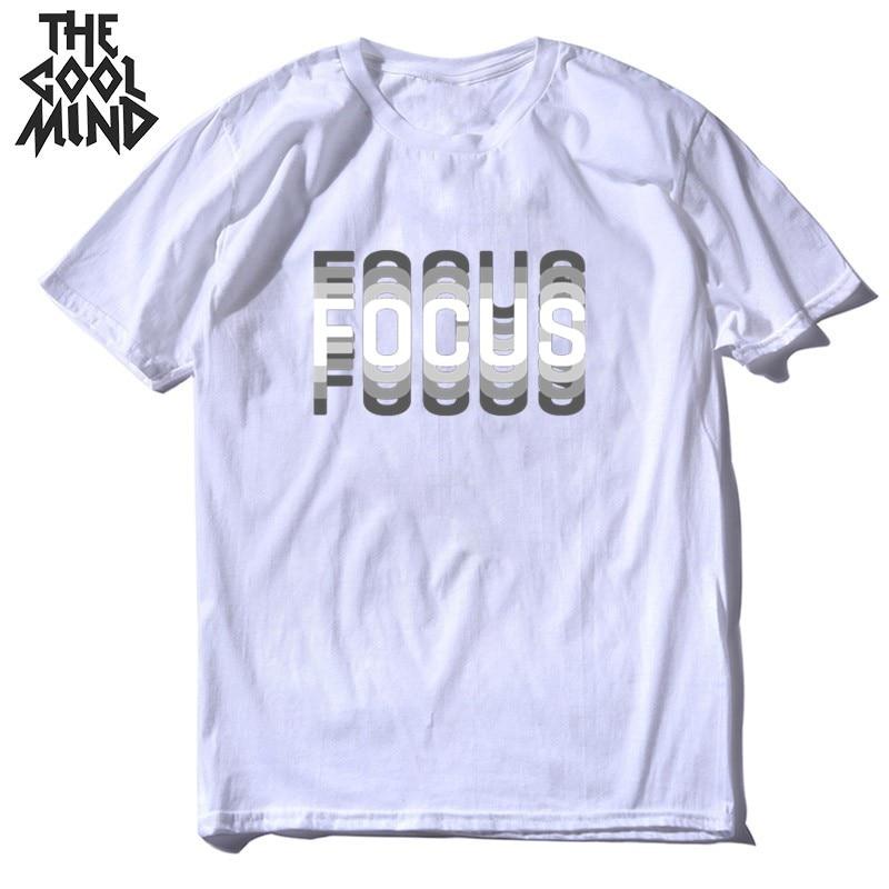 COOLMIND 100% cotton summer loose focus print men T shirt casual loose o-neck men tshirt short sleeve t-shirt male tee shirts