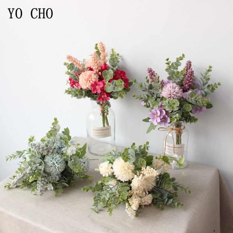 Yo Cho Pernikahan Bouquet Sutra Buatan Crabapple Bunga Buket Pengiring Pengantin Putih Ungu Pompom Eucalyptus Daun Pernikahan Persediaan
