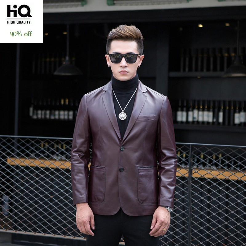Autumn New Business Man Luxury Sheepskin Leather Jacket Mens Single Breasted Slim Fit Blazers 100% Genuine Leather Suit Coat 4XL