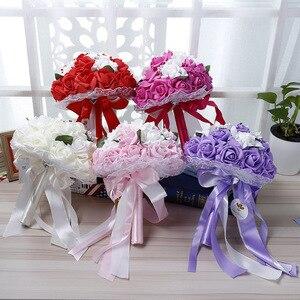 Image 2 - Pink Red White Purple Wedding Bouquet Flowers Bridal Bridesmaid Flower Bouquet Artificial PE Flower Rose Bride Bouquet Flowers