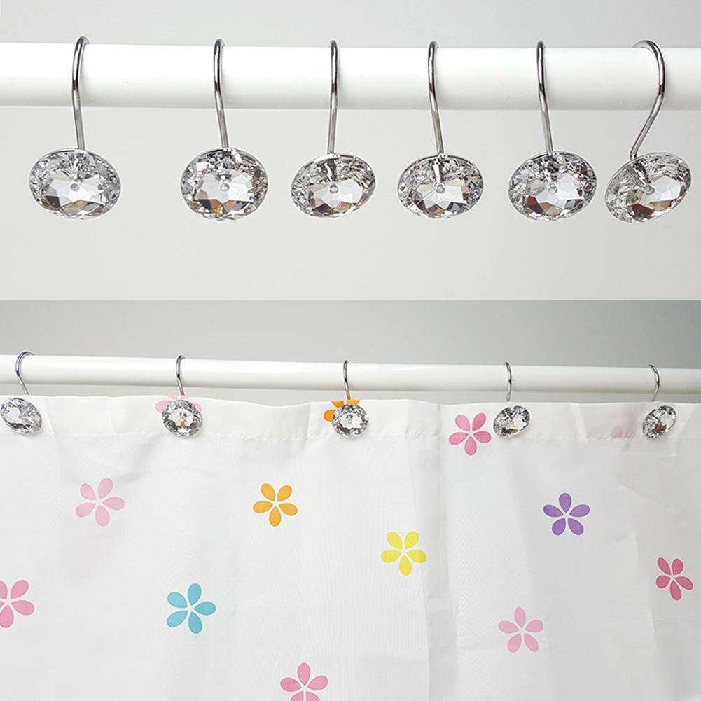 12Pcs Acrylic Round Bling Hooks Rings Acrylic Decorative Rhinestone Glass Shower Curtain Rolling Hooks Bathroom Bath Supplies