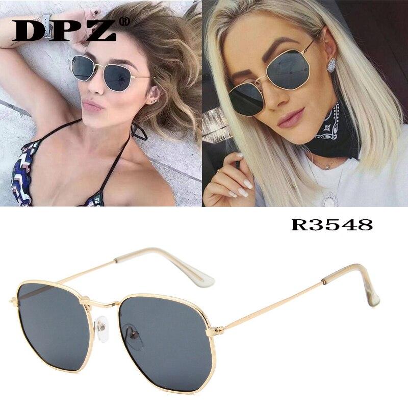 Luxury Brand Women Sunglasses Brand Designer Polygon Clear Lens Sunglasses Metal Men Vintage Sun Glasses Hexagon