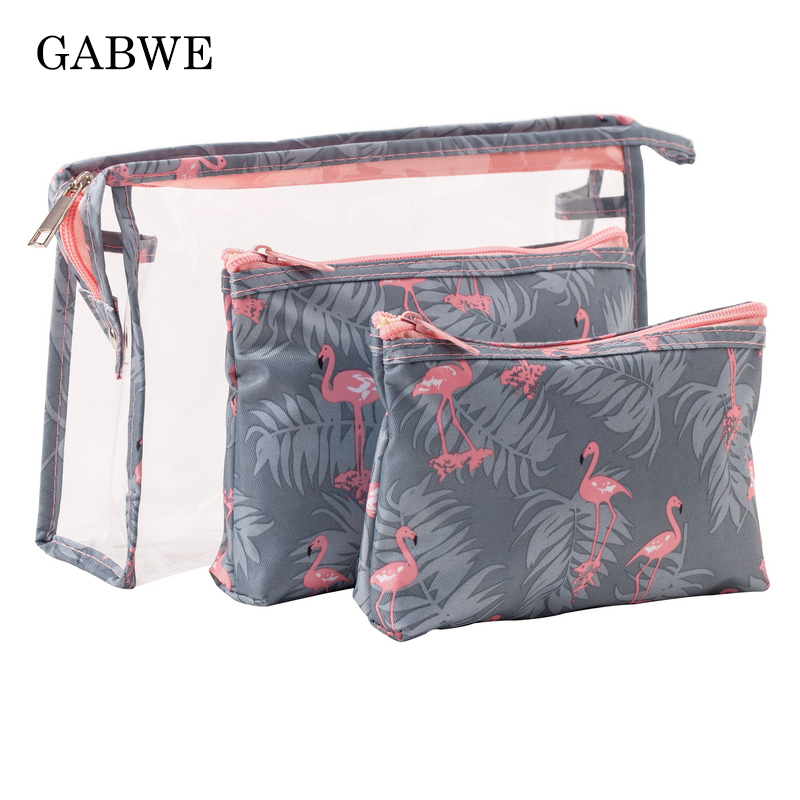 GABWE Transparent PVC Bags Travel Organizer Clear Makeup Bag Beautician Cosmetic Bag Beauty Case Toiletry Bag Make Up Pouch Set